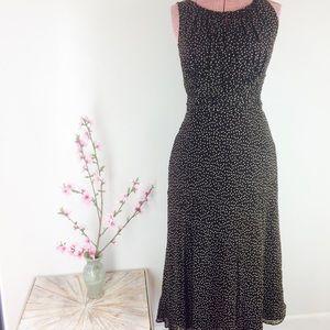 Adrianna Papell Brown Polka Dot Silk Dress